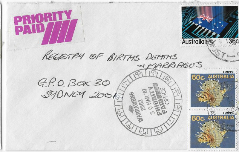 Priority Paid cover sent from Warrawong. 1987.