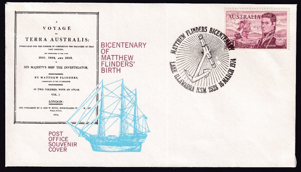 Australia Post souvenir cost for the Bicentenary of the Birth of Matthew Flinders with Matthew Flinders $1 stamp postmarked Lake Illawarra NSW - 16th March 1974 (APM #5215)