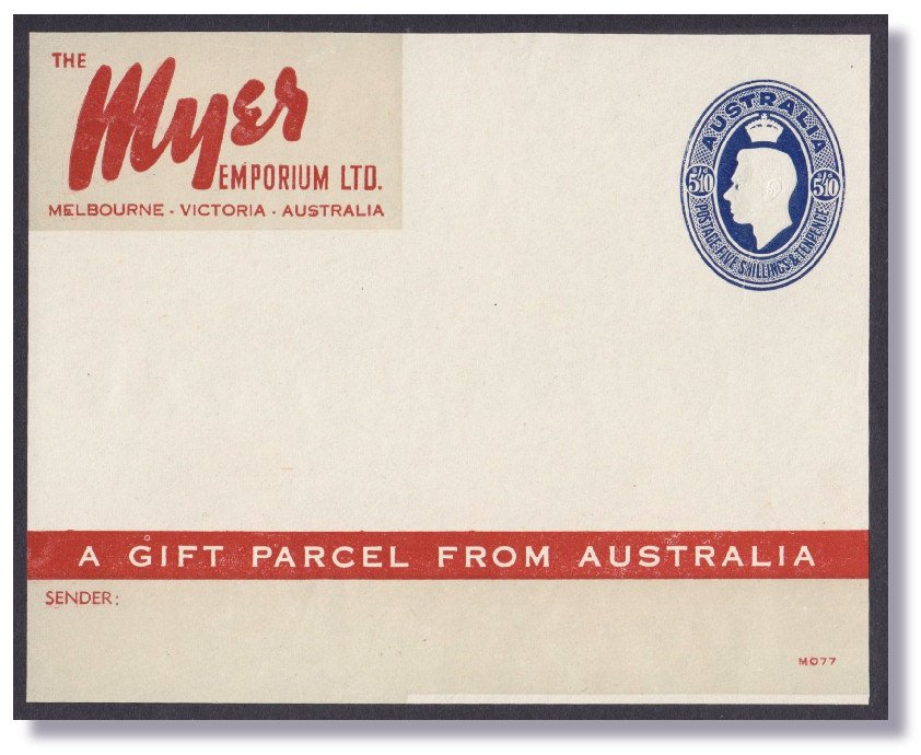 AUSTRALIA 1946-49 Food Parcel Label, 5/10d Blue, for Myer Department Stores,   Cat is $A2000