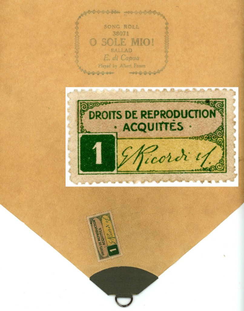 G. Ricordi French issue stamp on pianola roll