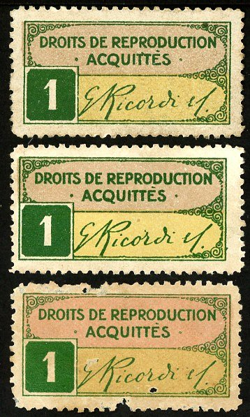 G. Ricordi French issue stamp number 1