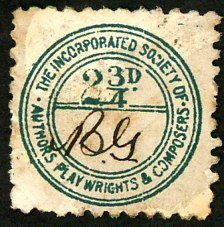 The Incorporated Society Of Authors Playwrights & Composers  stamp 2 3/4d