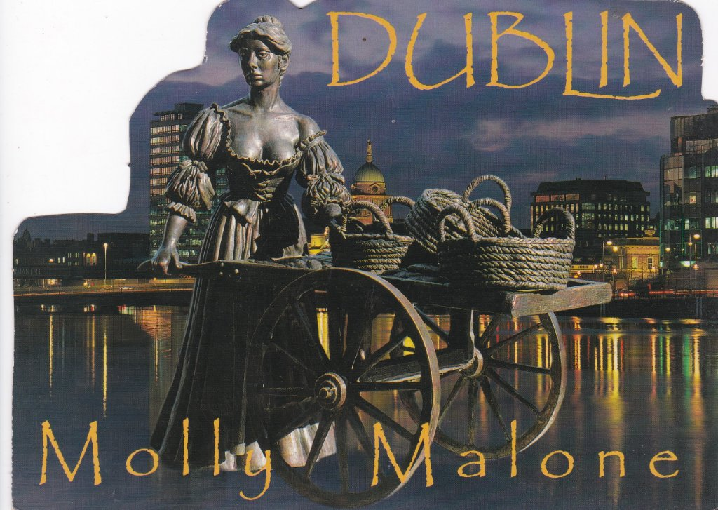 Postcard of Molly Malone with her wheelbarrow.
