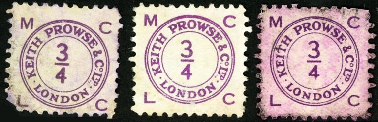 Keith Prowse stamps  ¾d