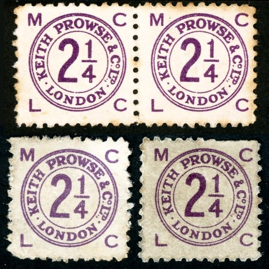 Keith Prowse stamps 2 ¼d