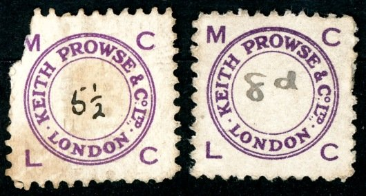 Keith Prowse stamps 5 ½d & 8d