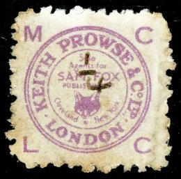 Keith Prowse stamp ¼d in manuscript