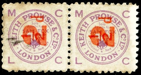 Keith Prowse stamps 2d on ½d purple