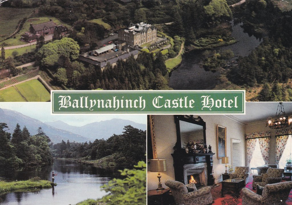 Card of Ballynahinch Castle Hotel Co Galway from my sister, on one of her frequent salmon fishing trips down south with her married boyfriend. They had carried on a 40 year affair. I put his head through a window at Woodvale cricket club house after some disparaging remarks about her. Sadly both were alcoholics and died from liver failure.