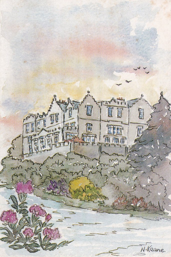 P.C. A card from an original watercolour of Ballynahinch Castle Hotel in Co Galway where my sister frequently stayed on salmon fishing trips.
