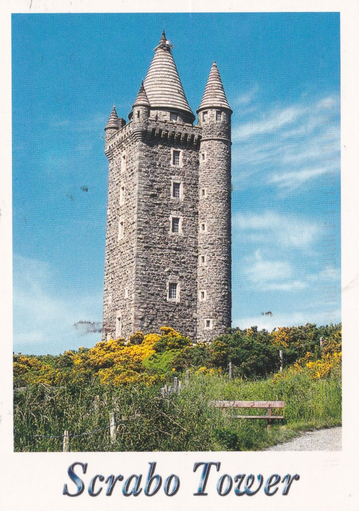 Card from Northern Ireland. Scrabo tower stands on a ridge top above the town of Newtownards in Co Down where my wife was born and lived until we married.