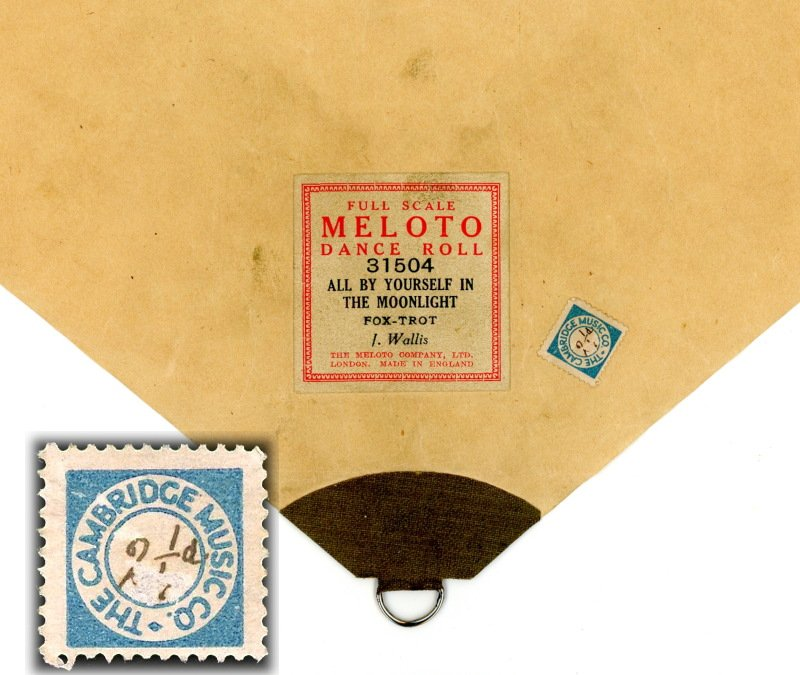 Cambridge Music stamp 2 ¼d in manuscript on roll