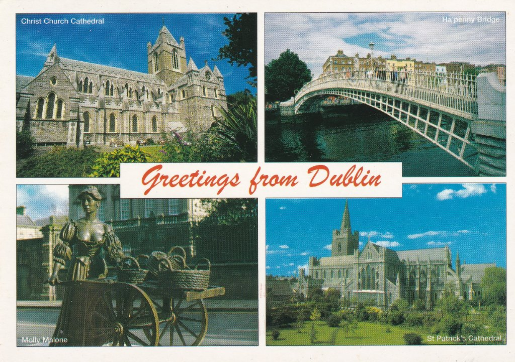 Card of Dublin's sights Sent by my sister on one of her frequent trips down south.