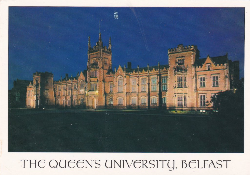 Card of Queens Universirt, Belfast at night best viewed from the top floor of the Students' Union across University Road.
