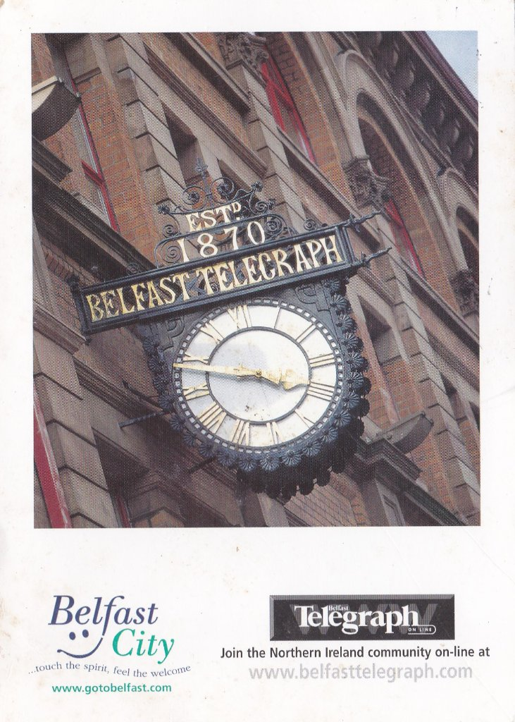 Card from Belfast, the clock on the Belfast Telegraph Office, afree card sent to all residents to promote Belfast.