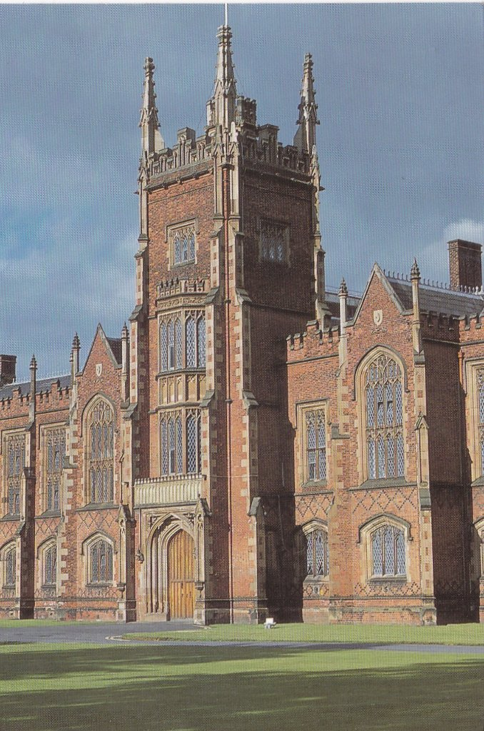 Tall card of Mani entrance to Queens University Belfast, certain to turn on it's side.