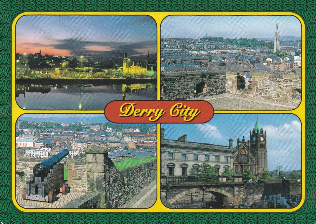 Card from Londonderry Sent by me to my children on my last ever visit to Ulster to settle my sisters estate.