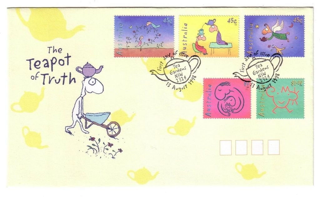 .<br />Australia, 13 Aug 1998: Leunig stamp set, <br />including the Teapot of Truth, on first day cover