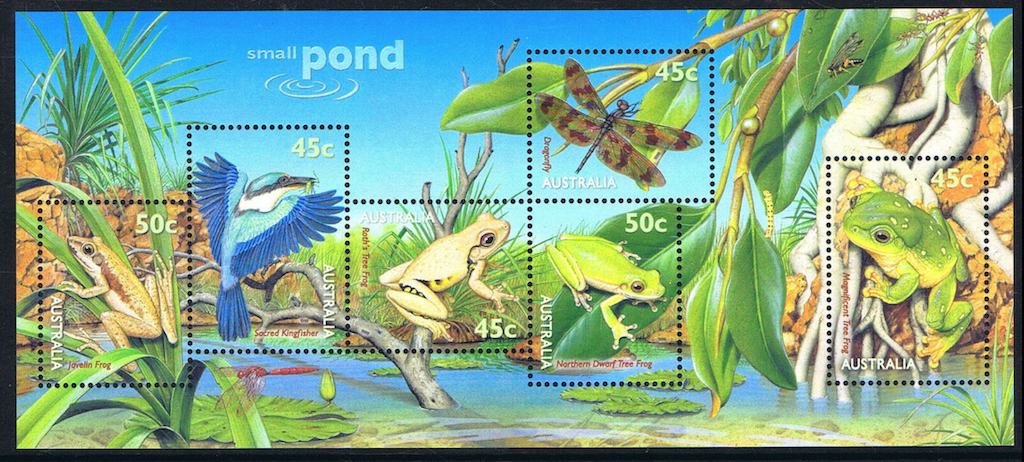 .<br />Australia, 1999: Small Pond minisheet,<br />set of six stamps, including four different frog species