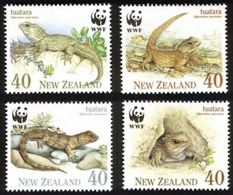 .<br />New Zealand, 1991: Tuatara, set of four, WWF