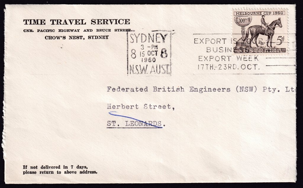 Time Travel Services advertising cover with 1960 Melbourne Cup stamp with Sydney 8 machine slogan cancel - 15th October 1960 to St. Leonards NSW.
