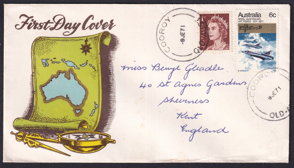 Seven Sea fdc for 50th Anniversary of the RAAF postmarked Cooroy Qld