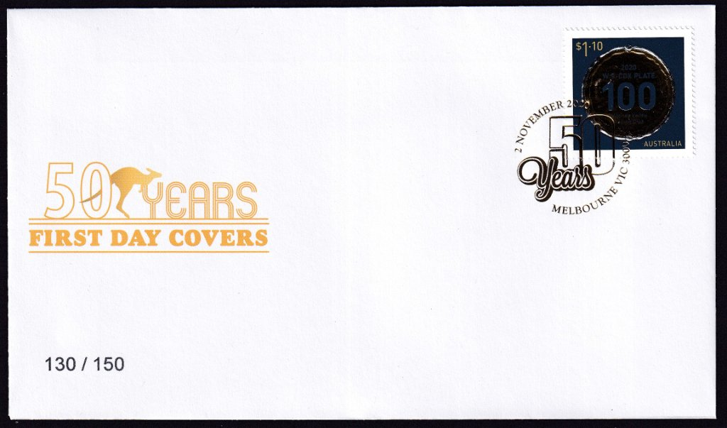 2020 Limited Edition 100th Cox Plate Souvenir cover postmarked in Gold - 2nd November 2020.<br /><br />Unfortunately it is difficult to scan &amp; my scan does not do it justice.