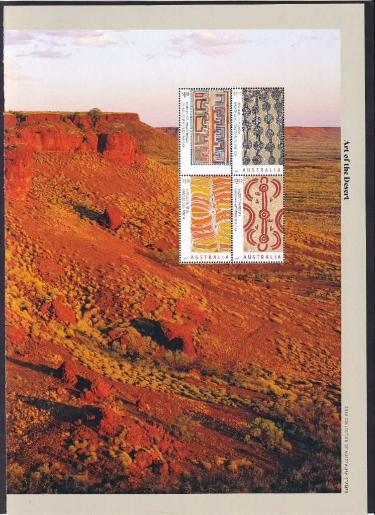 A page from the 2020 Annual Stamps Yearbook for the Art of the Desert stamps with Missing Australia & year