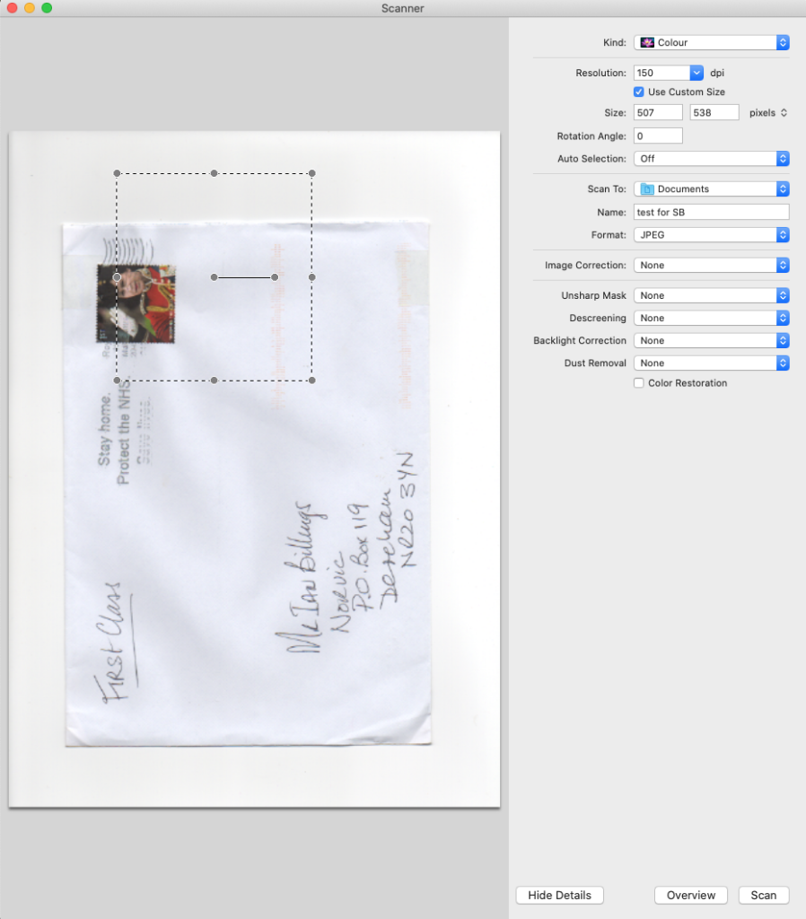 Overview of item to be scanned, with selection rectangle, not yet sized for the cover.