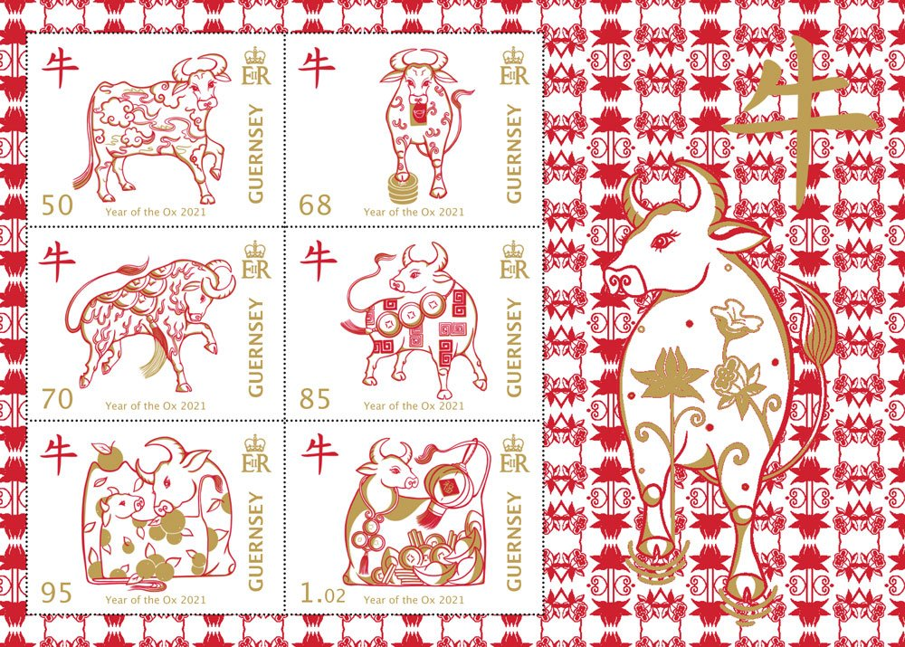 Year of the Ox Souvenir Sheet issued by Guernsey 26 Jan 2021
