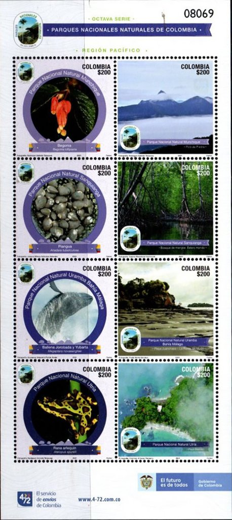 Natural Parks of Colombia, Series VIII, issued 20 Jan 2021