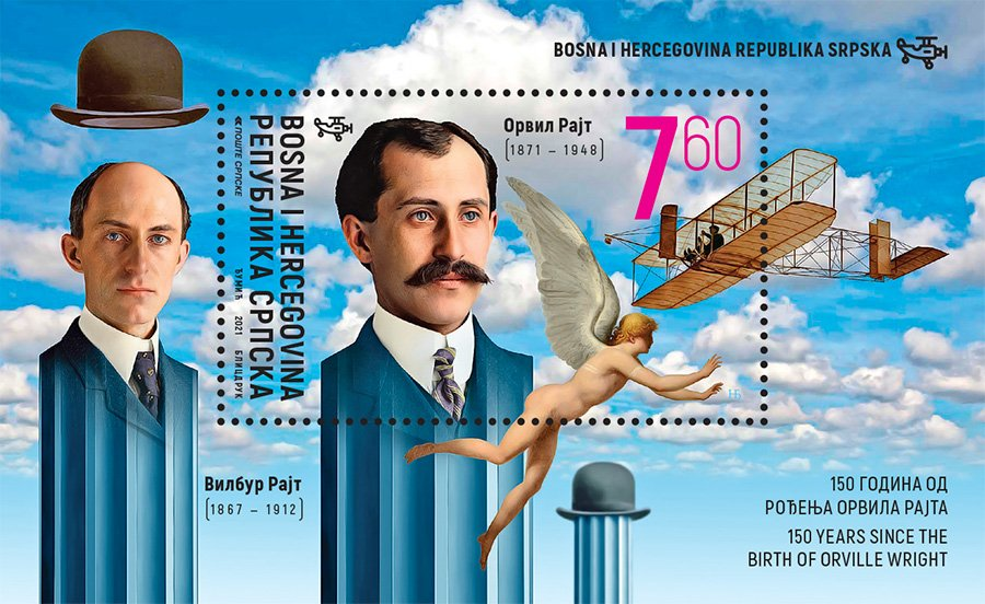 Orville Wright honored by the Serbian Post in Bosnia on 29 January