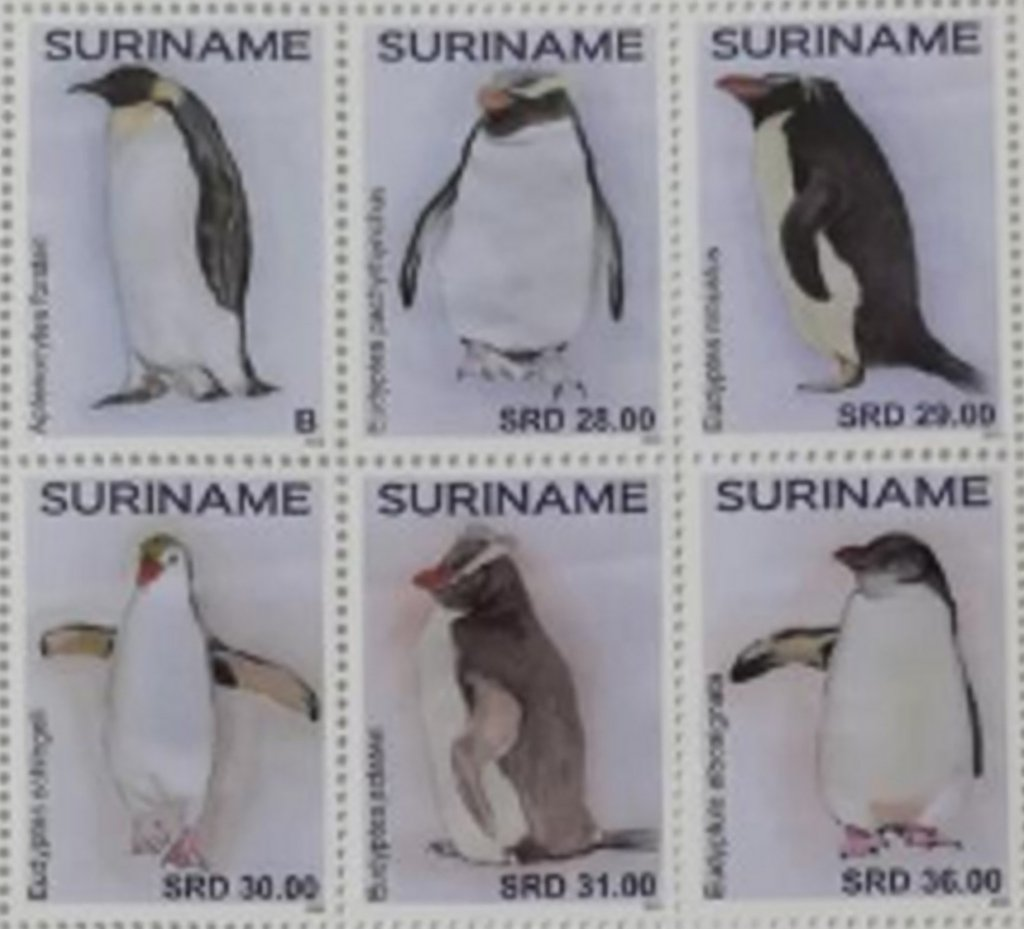 Surinam Penguin stamps issued in January 2021, part II of series